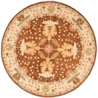 Safavieh Handmade Anatolia Oriental Oushak Brown/ Beige Hand-spun Wool Rug (8' Round)