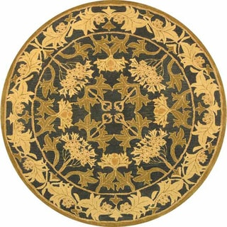 Safavieh Handmade Anatolia Oriental Traditional Navy/ Sage Green Hand-spun Wool Rug (6' Round)