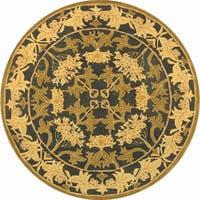 Safavieh Handmade Anatolia Oriental Traditional Navy/ Sage Green Hand-spun Wool Rug - 8' x 8' Round