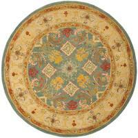 Safavieh Handmade Anatolia Oriental Legacy Light Blue Hand-spun Wool Rug - 4' Round