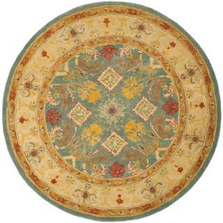 Safavieh Handmade Anatolia Oriental Legacy Light Blue Hand-spun Wool Rug (6' Round)