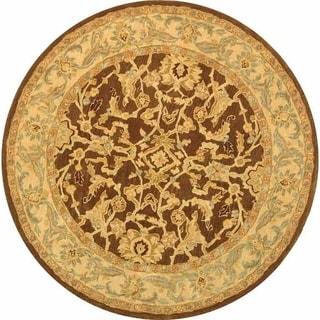Safavieh Handmade Anatolia Oriental Traditional Brown/ Tan Hand-spun Wool Rug (6' Round)