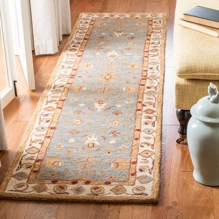 Safavieh Handmade Anatolia Oriental Heirloom Ivory/ Light Green Hand-spun Wool Runner (2'3 x 10')
