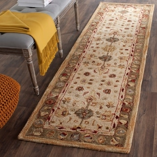 Safavieh Handmade Anatolia Oriental Heirloom Ivory/ Light Green Hand-spun Wool Runner (2'3 x 12')