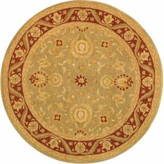 Safavieh Handmade Anatolia Oriental Kashan Green/ Red Hand-spun Wool Rug (4' Round)