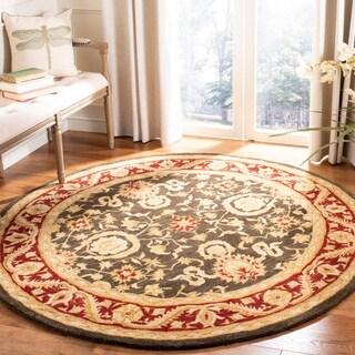 Safavieh Handmade Kashan Charcoal/ Red Wool Rug (4' Round)