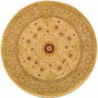 Safavieh Handmade Anatolia Oriental Timeless Ivory/ Sand Hand-spun Wool Rug - 6' x 6' Round