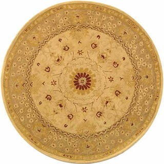 Safavieh Handmade Anatolia Oriental Timeless Ivory/ Sand Hand-spun Wool Rug (6' Round)