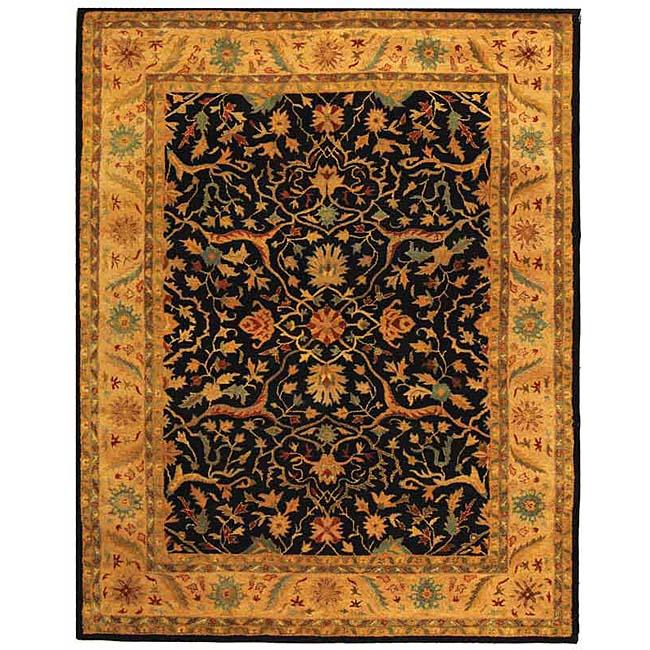 Safavieh Handmade Mahal Black/ Beige Wool Rug (6' x 9')