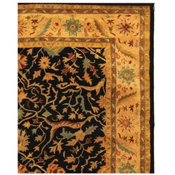 Safavieh Handmade Mahal Black/ Beige Wool Rug (6' x 9') - Thumbnail 2