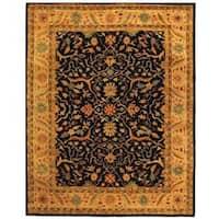 Safavieh Handmade Mahal Black/ Beige Wool Rug - 7'6 x 9'6