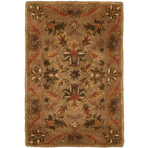 "Safavieh Handmade Antiquities Kasadan Olive Green/ Gold Wool Rug - 2'3"" x 4'"