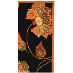 Safavieh Hand-hooked Autumn Leaves Black/ Orange Wool Runner (2'6 x 12')