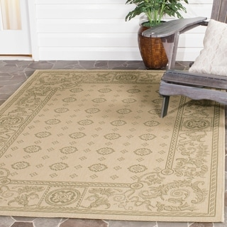 "Safavieh Beaches Natural/ Olive Green Indoor/ Outdoor Rug (5'3"" x 7'7"")"