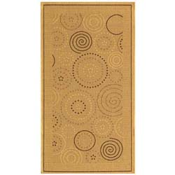 Safavieh Ocean Swirls Natural/ Brown Indoor/ Outdoor Rug (2'7 x 5')