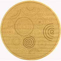 "Safavieh Ocean Swirls Natural/ Brown Indoor/ Outdoor Rug - 6'7"" x 6'7"" round"