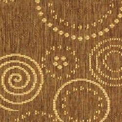 Safavieh Ocean Swirls Brown/ Natural Indoor/ Outdoor Runner (2'4 x 6'7) - Thumbnail 1