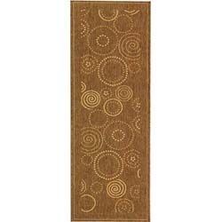 Safavieh Ocean Swirls Brown/ Natural Indoor/ Outdoor Runner (2'4 x 6'7)