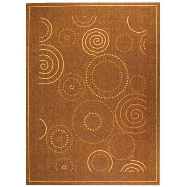 Safavieh Ocean Swirls Brown/ Natural Indoor/ Outdoor Rug - 8' X 11'