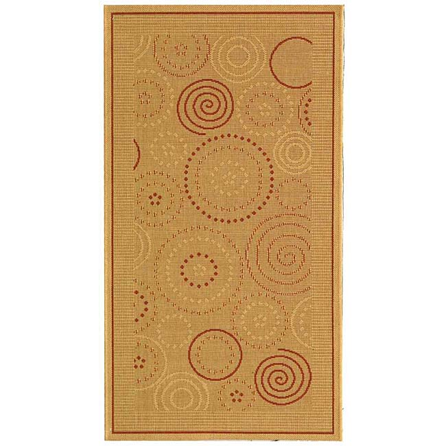 Safavieh Ocean Swirls Natural/ Terracotta Indoor/ Outdoor Rug (2'7 x 5')