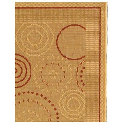 Safavieh Ocean Swirls Natural/ Terracotta Indoor/ Outdoor Rug (2'7 x 5') - Thumbnail 2