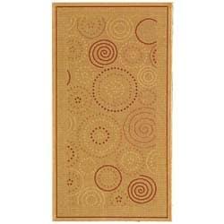 Safavieh Ocean Swirls Natural/ Terracotta Indoor/ Outdoor Rug (2'7 x 5')