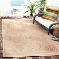 "Safavieh Ocean Swirls Natural/ Terracotta Indoor/ Outdoor Rug - 2'7"" x 5'"