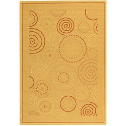 Safavieh Ocean Swirls Natural/ Terracotta Indoor/ Outdoor Rug (4' x 5'7)