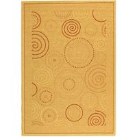 """Safavieh Ocean Swirls Natural/ Terracotta Indoor/ Outdoor Rug (4' x 5'7) - 4' x 5'7"""""""
