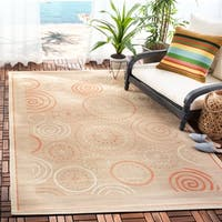 "Safavieh Ocean Swirls Natural/ Terracotta Indoor/ Outdoor Rug - 5'-3"" x 7'-7"""