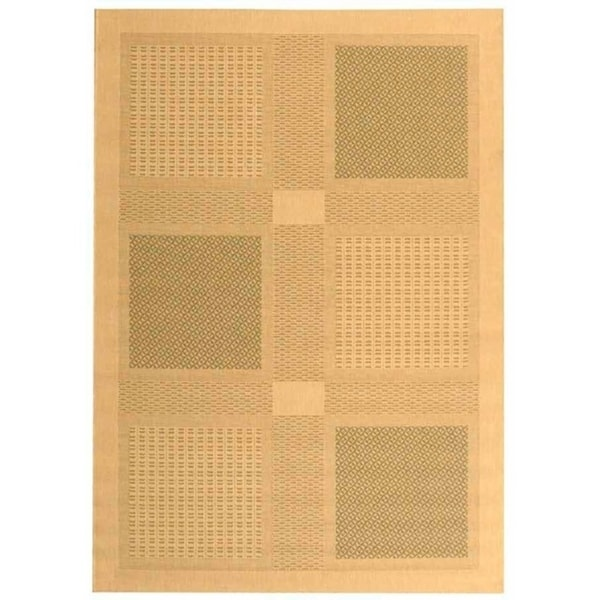 """Safavieh Lakeview Natural/ Olive Green Indoor/ Outdoor Rug - 5'-3"""" x 7'-7"""""""