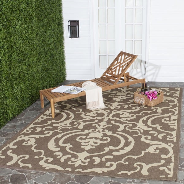 Safavieh Bimini Damask Chocolate/ Natural Indoor/ Outdoor Rug (6'7 x 9'6)