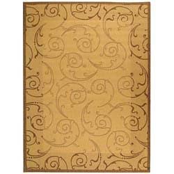 Safavieh Oasis Scrollwork Natural/ Brown Indoor/ Outdoor Rug (5'3 x 7'7)