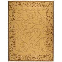Safavieh Oasis Scrollwork Natural/ Brown Indoor/ Outdoor Rug - 5'3 x 7'7