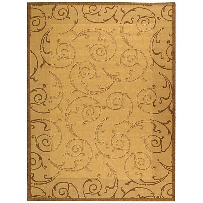 Safavieh Oasis Scrollwork Natural/ Brown Indoor/ Outdoor Rug - 6'7 x 9'6