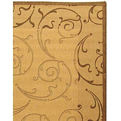 Safavieh Oasis Scrollwork Natural/ Brown Indoor/ Outdoor Rug (6'7 x 9'6) - Thumbnail 2