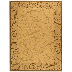 Safavieh Oasis Scrollwork Natural/ Brown Indoor/ Outdoor Rug - 6'7 x 9'6 - Thumbnail 0