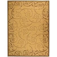Safavieh Oasis Scrollwork Natural/ Brown Indoor/ Outdoor Rug - 6'7 x 9'6