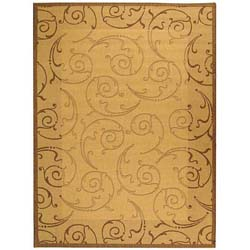 Safavieh Oasis Scrollwork Natural/ Brown Indoor/ Outdoor Rug (8' x 11')