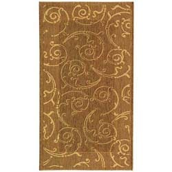 Safavieh Oasis Scrollwork Brown/ Natural Indoor/ Outdoor Rug (2'7 x 5')
