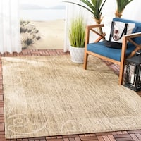 "Safavieh Oasis Scrollwork Brown/ Natural Indoor/ Outdoor Rug - 6'7"" x 9'6"""