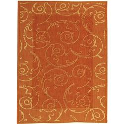 Safavieh Oasis Scrollwork Terracotta/ Natural Indoor/ Outdoor Rug (5'3 x 7'7)