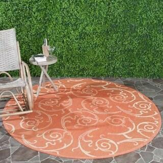 "Safavieh Oasis Scrollwork Terracotta/ Natural Indoor/ Outdoor Rug - 5'3"" x 5'3"" round"
