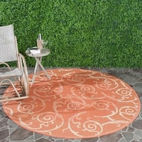 Safavieh Oasis Scrollwork Terracotta/ Natural Indoor/ Outdoor Rug (6'7 Round) - 6'7 Round