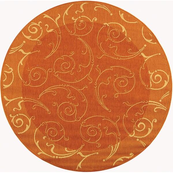 Safavieh Oasis Scrollwork Terracotta/ Natural Indoor/ Outdoor Rug (6u00277  Round)