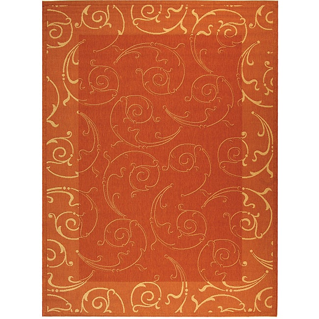 Safavieh Oasis Scrollwork Terracotta/ Natural Indoor/ Outdoor Rug (6'7 x 9'6) - Thumbnail 0