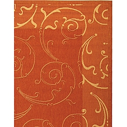 Safavieh Oasis Scrollwork Terracotta/ Natural Indoor/ Outdoor Rug (6'7 x 9'6) - Thumbnail 2