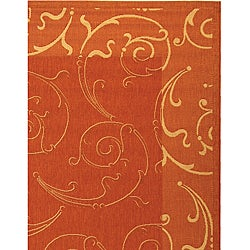Safavieh Oasis Scrollwork Terracotta/ Natural Indoor/ Outdoor Rug (8' x 11') - Thumbnail 2