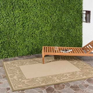 Safavieh Paradise Natural/ Olive Green Indoor/ Outdoor Rug (6'7 x 9'6)