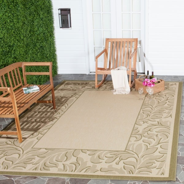 Safavieh Paradise Natural/ Olive Green Indoor/ Outdoor Rug - 8' x 11'
